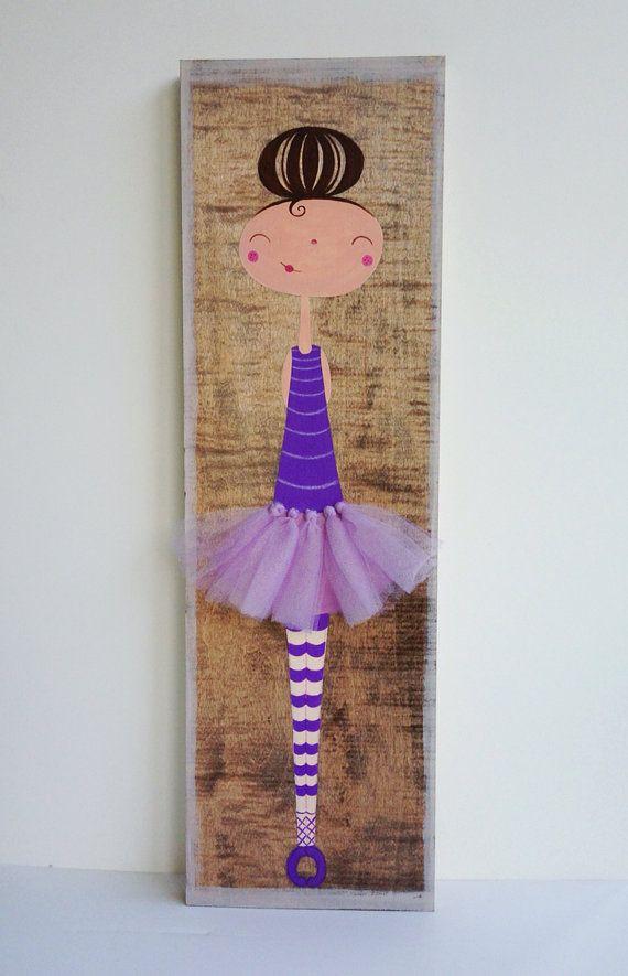 Ballerina Art for Children, Ballerina Painting, Baby Girl Nursery Decor, Nursery Art, Girls Wall Art,  Girls Room Art, Kids Wall Art on Etsy, $45.00