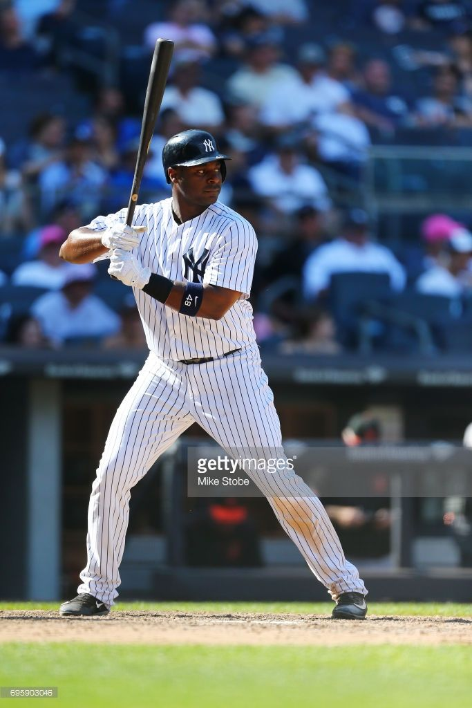 Chris Carter #48 of the New York Yankees in action against the Baltimore Orioles at Yankee Stadium on June 11, 2017 in the Bronx borough of New York City. New York Yankees defeated the Baltimore Orioles 14-3.