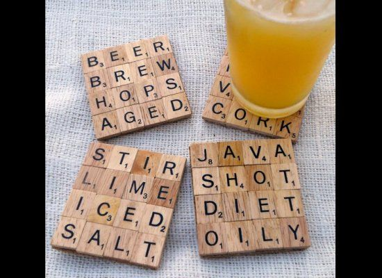 Love these coasters!  How fun. Look @Angie Ballard -- these are cool!Diy Coasters, Gift Ideas, Diy Gift, Cute Ideas, Scrabble Coasters, Scrabble Tiles, Tile Coasters, Crafts, Scrabble Letters