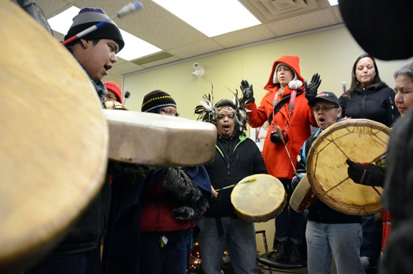 Idle No More movement pays visit to Strahl's office.  Sto:lo members drum and sing inside Mark Strahl's constituency office Friday.