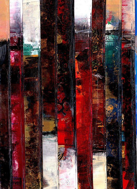 """Mixed Media Abstract schilderij, Art, originele hedendaagse kunst op geregenereerde doos verpakking """"Collage abstractie 2"""" Kathy Morton Stanion EBSQ"""