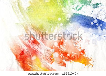 Abstract colorful brush strokes on paper texture