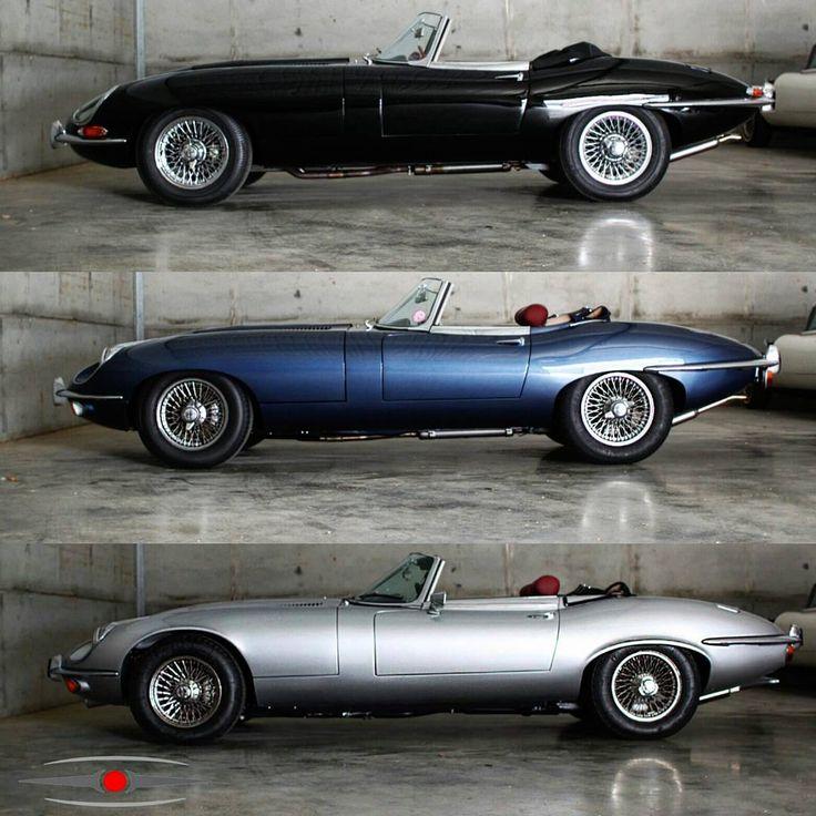 The evolution of that iconic E-type profile. Series 1, 2 and 3 OTS. #jaguar #etype #classicjaguar #jaguaretype #supercar #sportscar #car…