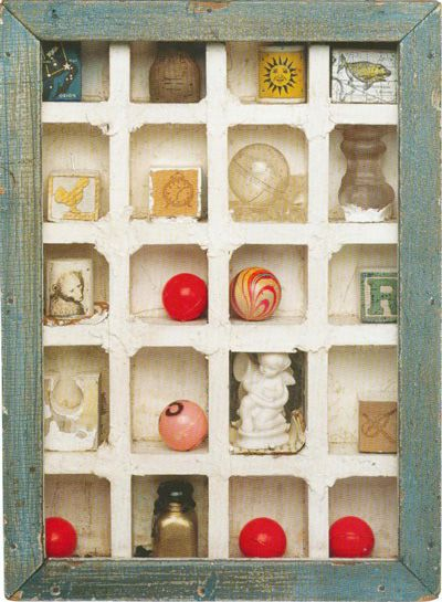 Joseph Cornell ●彡Compartmentalized   Interesting way of displaying Bella's childhood millstones- first tooth, lock of hair, ect