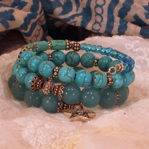 Splash of Blue memory wire bracelet made with by BlooMoonJewelry