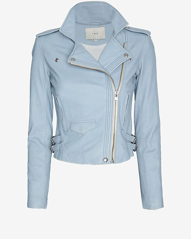 IRO EXCLUSIVE Hana Leather Jacket: Sky Blue