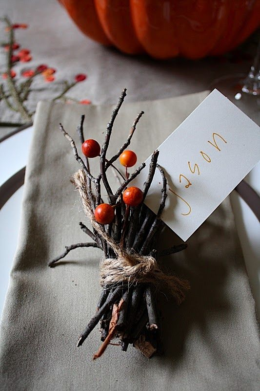 """twig name card I love doing this, even though there's only six of us and we all have """"our seat"""""""