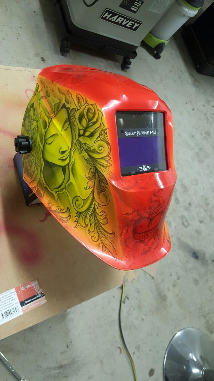 #Custom #paint #welding #helmet #art #tattoo #tattoos #drawing #freehand