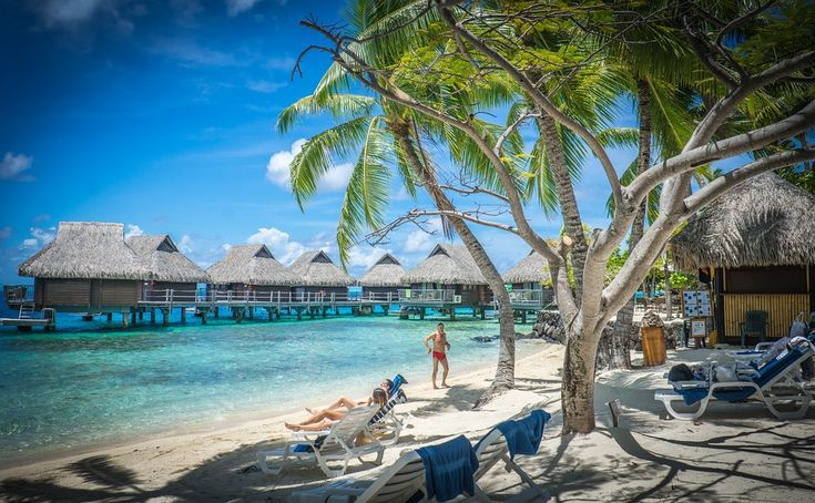 Bora-Bora, Over Water Bungalows, Palm Trees