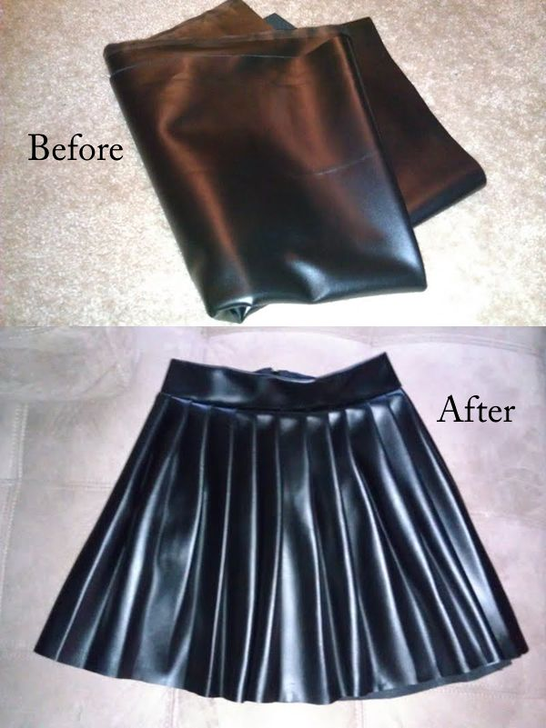 How To tutorial on making a pleated pleather skirt
