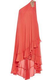 Marchesa NotteEmbellished silk-chiffon midi dress