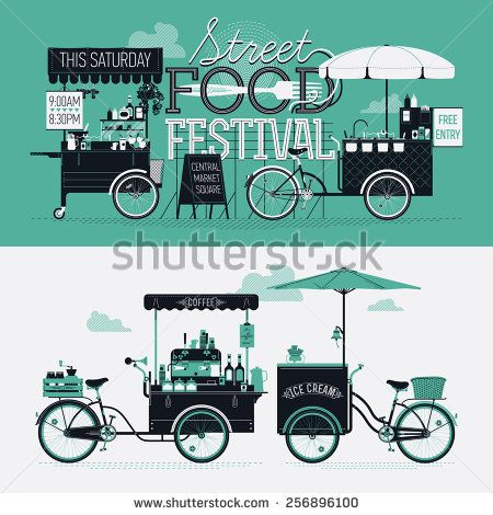 Cool graphic poster, flyer or horizontal banner design elements on Street food festival event with retro looking detailed vending portable carts selling coffee, hot dogs and ice cream. Cool lettering - stock vector