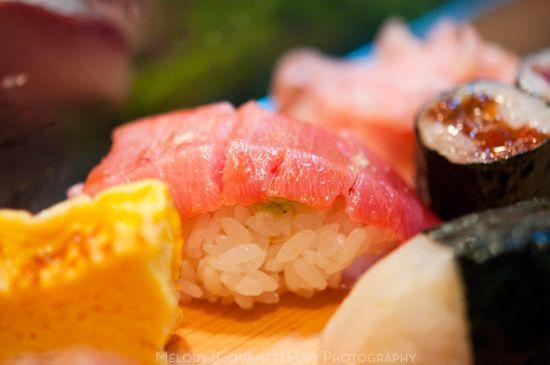 Toro fatty tuna nigiri at Daiwa Sushi Restaurant at Tsukiji Market in Tokyo Japan by Melody Fury Photography. Food, Drink, Restaurant Photographer and Writer in Vancouver BC and Austin TX