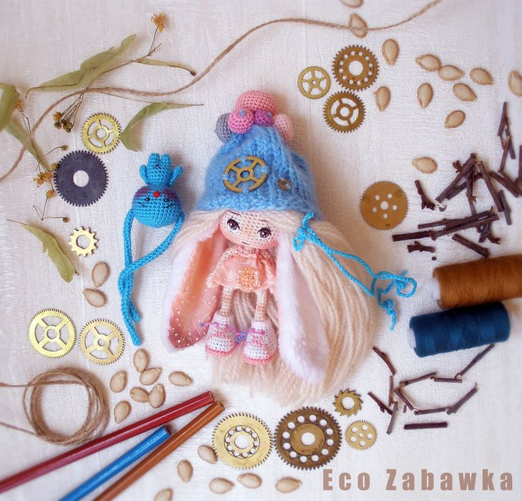 Eco Zabawka. Bunny-Doll. Miniature. Exclusive. Textile doll. Collection doll. Handmade doll. Steampunk. Art doll. Gift. Present. Souvenir. Christmas.  https://www.instagram.com/eco_zabawka/