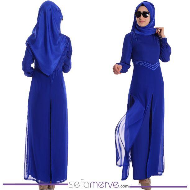 Tulum Elbise 52413-01 Saks #sefamerve #tesetturgiyim #tesettur #hijab #tesettür