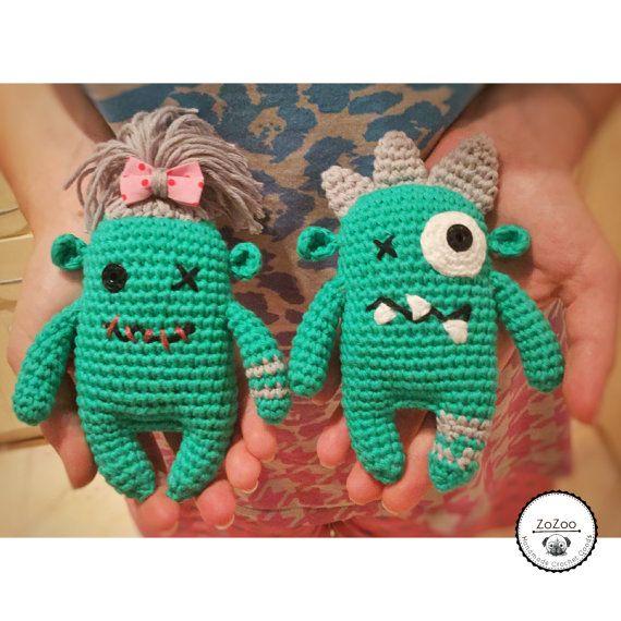 Handmade cute crochet monster couple от ZoZooCrochet на Etsy