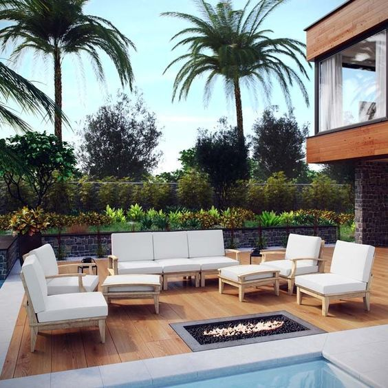 Make your poolside seating area inviting with the Marina 9 Piece Outdoor Patio Teak Sofa Set.  https://www.barcelona-designs.com/products/marina-9-piece-outdoor-patio-teak-sofa-set-2?utm_content=bufferc12f0&utm_medium=social&utm_source=pinterest.com&utm_campaign=buffer #poolside #patiofurniture #teaksofa #Marina #furniture #outdoor #summer