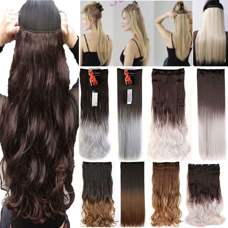 """26"""" 140-145g Women Hair Extensions Black Brown Blonde Natural Straight Long Synthetic Woman Clip in Hair Extension Hairpieces"""