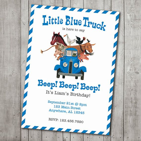 Little Blue Truck Invite Digital File by ChloeTate on Etsy, $12.00