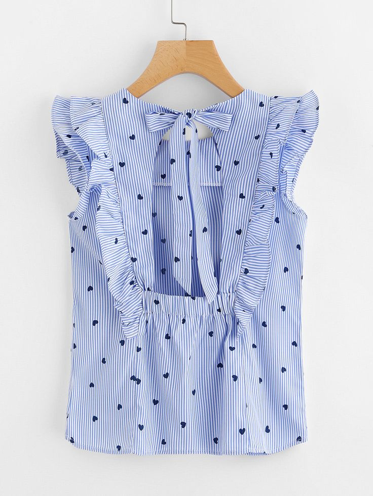 Top de rayas de volante con espalda descubierta con detalle de lazo En Stock SKU:blouse170809105