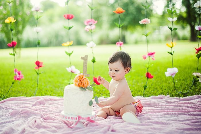Smash Cake Time from a First Birthday Garden Party via Kara's Party Ideas | KarasPartyIdeas.com (19)