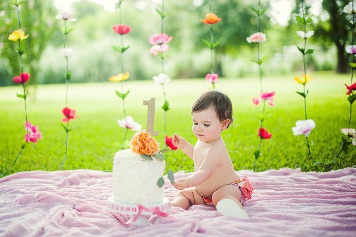 Smash Cake Time from a First Birthday Garden Party via Kara's Party Ideas | KarasPartyIdeas.com (19)