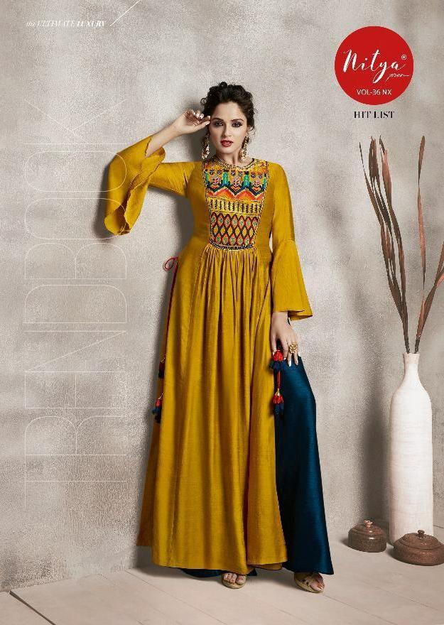 2fb710ba686 LT Fabrics Nitya Vol 36 NX Hit List Heavy Designer Readymade Party Wear Gown  Style Kurtis at Wholesale Rate