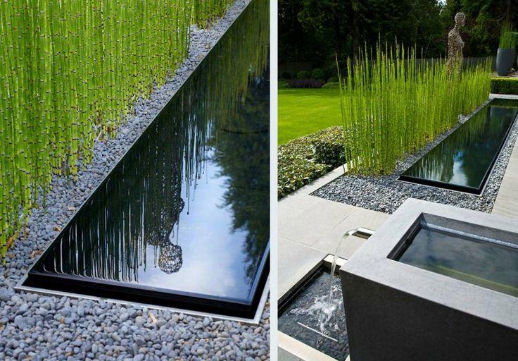 Vorgarten Gestalten Teich Kieselsteine Bambus Moderne ... Gartenteich Modern Anlegen