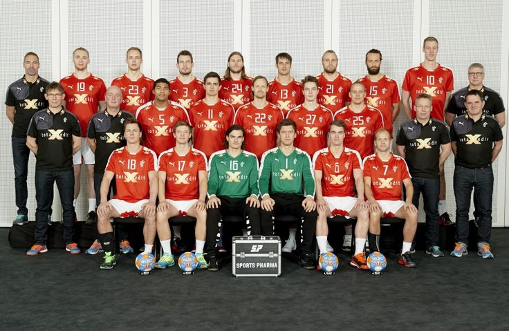 The Danish handball national team 2015 with the new coach Gudmundur Gudmundsson (in black, no 2 from the right)