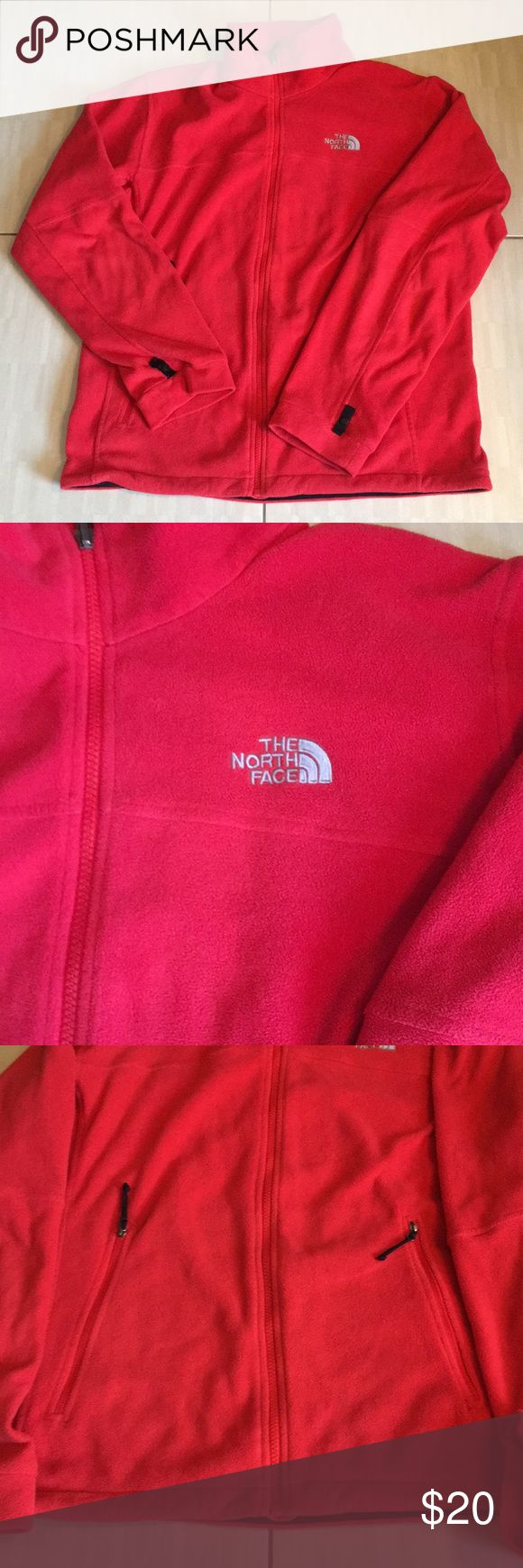 Red North Face zip up jacket/ front pockets Red North Face zip up jacket/ front pockets. Worn several times. Not in bad condition but also not new. North Face Jackets & Coats Lightweight & Shirt Jackets