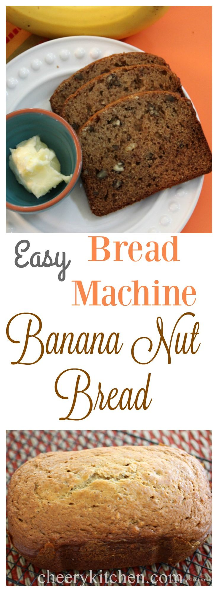 Easy Bread Machine Banana Nut Bread | cheerykitchen.com Calling all banana nut bread lovers.  If you can push a button you're going to love this one.  Ready 1-2-3 moist and absolutely delicious!!!