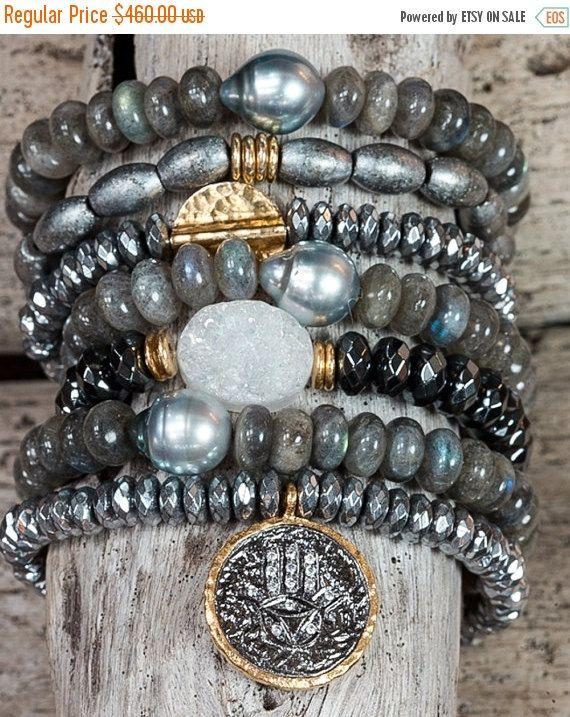 Boho Bracelets, Stack Bracelets, Stretch Bracelets, Set of seven bracelets, Stretchy Bracelets, Tahitian Pearl Bracelet, Hamsa Bracelet