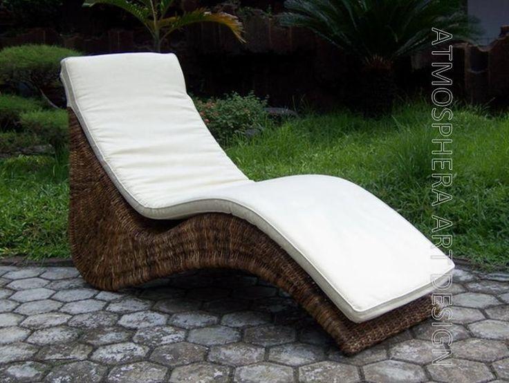 Chaise longue lettino relax intreccio naturale con cuscino da casa e giardino
