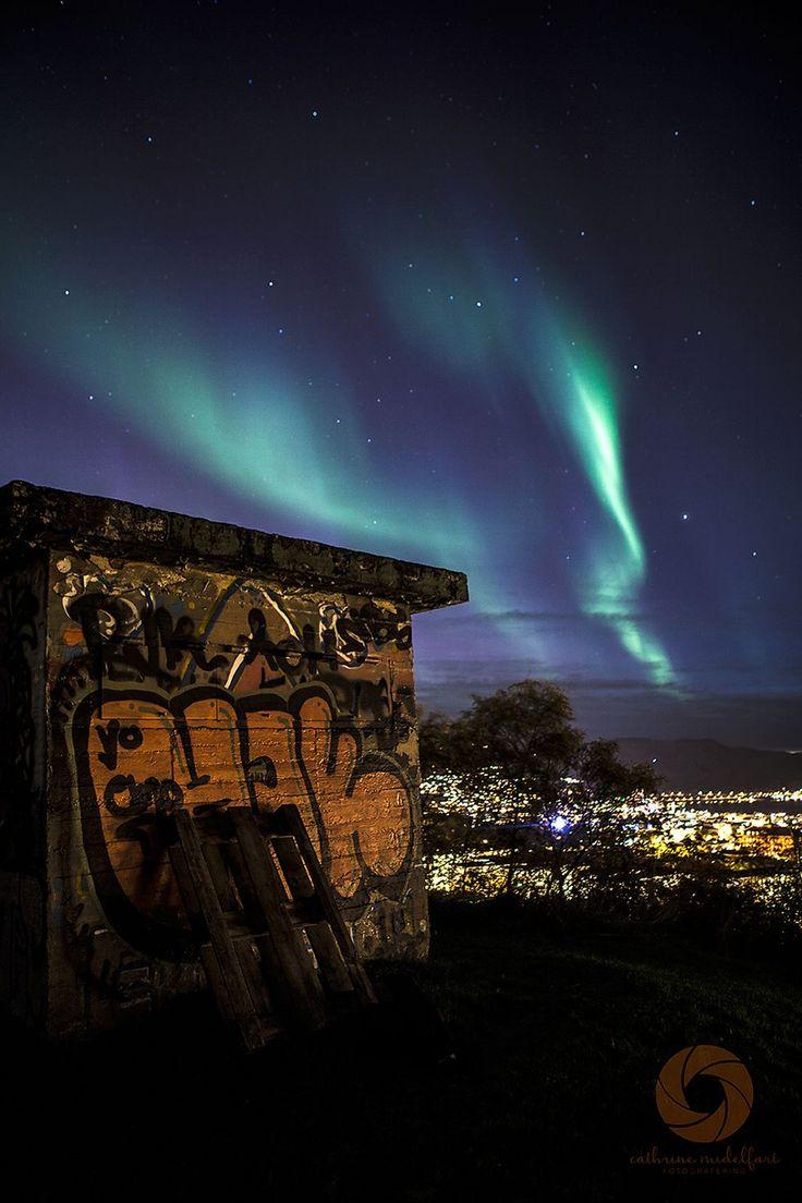 Nordlyset på Kuhaugen  (Foto: Cathrine Midelfart)