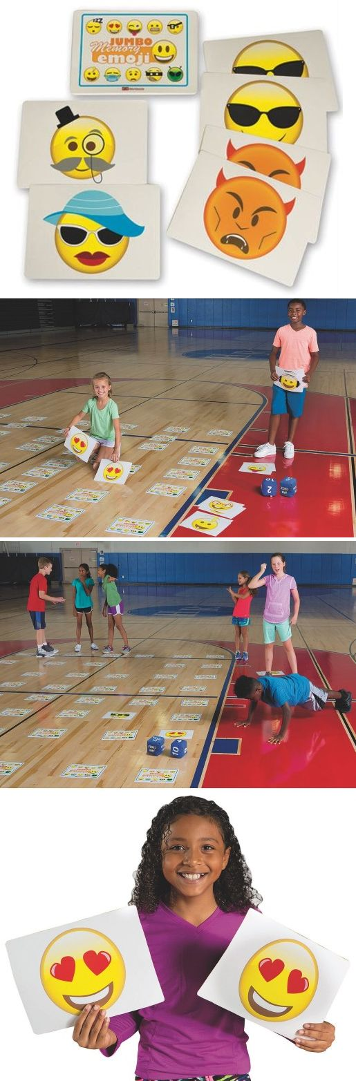 This jumbo memory game for physical eduaction includes 48 huge cards with 24 different emoji graphics. Spread the cards out on any large open floor space and play the classic 'flip the card over and make a match game' or get your group active with our team fitness game rules.