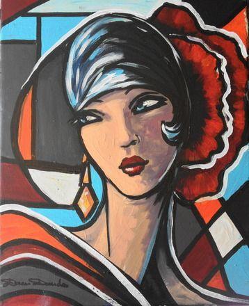 Portrait expressionniste, peinture unique & originale sur toile 41x33 style art déco*Mamz'elle Coquelicots....*  : Peintures par la-perruche...