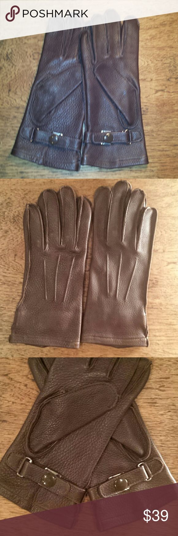 Chocolate brown deerskin gloves M Ladies M STA-SOFT deerskin gloves.  Excellent condition!   Lining 55% wool; 25% raciin; 20% nylon.  Made in the USA.  Dry clean only. STA-SOFT  Accessories Gloves & Mittens