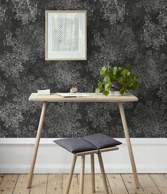 Black and White Wallpaper Floral Wall Paper Dark or Light
