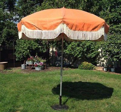Vintage 8 Patio Umbrella Orange Floral Mid Century  · Vintage PatioLawn  ChairsUmbrellasMid CenturyVictorian
