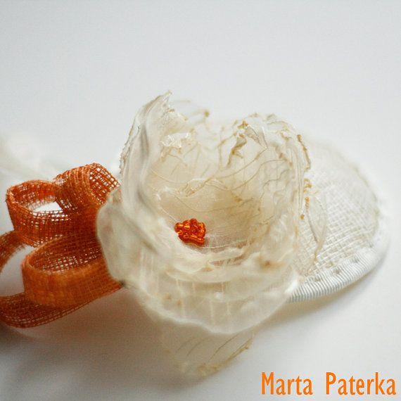 Sinamay Ecru and Orange Fascinator Hat for Bride by martapaterka