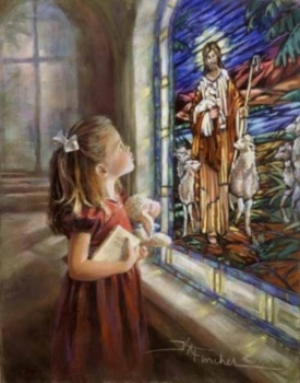 Feed My Sheep by Kathryn Fincher is a signed numbered print of a little girl and a lamb doll looking at the Good Shepherd