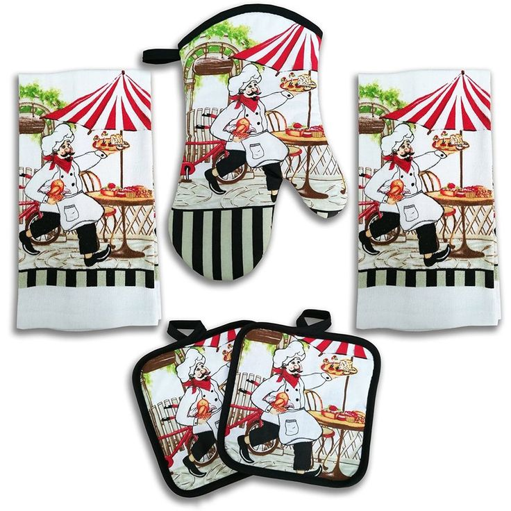 5 pcs #kitchen #linen #set Towels Potholders Oven Mitt Cooking Kitchen #accessories