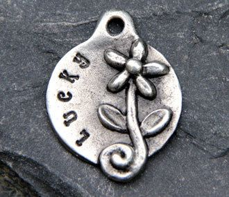 Dog Tag - Pet ID Tag - Dog ID Tag - Pet Tag - Custom Hand Stamped Pewter Flower via Etsy For Leia