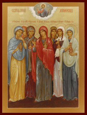 The women in this icon are known collectively as the Holy Myrrhbearers. They are the ones who stayed close by to Christ to the very end and to first to see him after His glorious Resurrection. Notice my Patron Saint, Mary Magdalene, in the middle - love her!