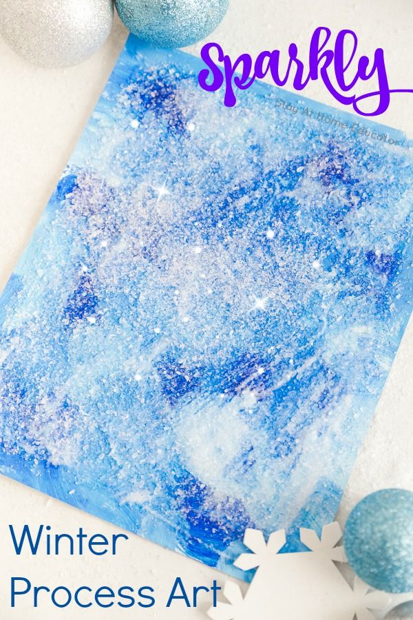 Sparkly winter process art for kids