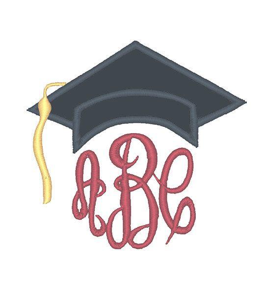 Graduation cap monogram topper applique embroidery design