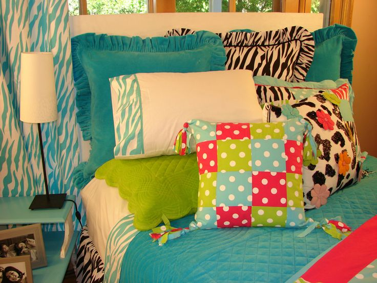 brightly colored teen girl room