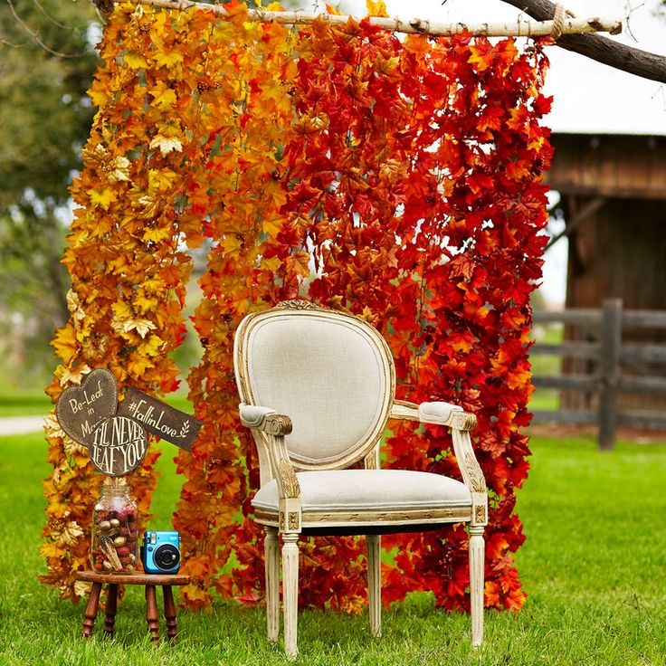 Nothing could be easier to create than this fabulous fall leaf backdrop. Simply attach garlands to a limb and your have the perfect background for your autumn festivities and photos