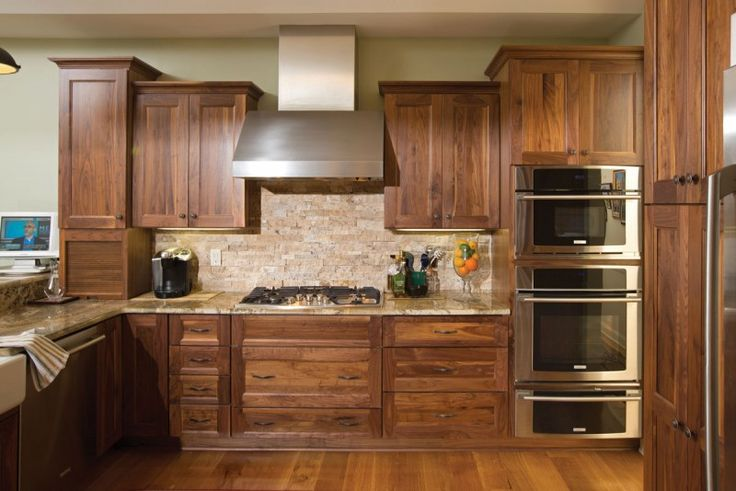 Candlelight Cabinetry Chesapeake Full Overlay Walnut Natural Stain Wood Kitchens Pinterest
