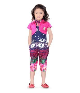 N-xt Girls Navy Cotton Jump Suit With Shrugg
